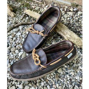 LL Bean Men's Brown Leather Moccasin Slippers 10
